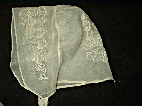 Antique Early 1840 1850 Tambour Whitework Embroidery Fine Muslin Day Bonnet