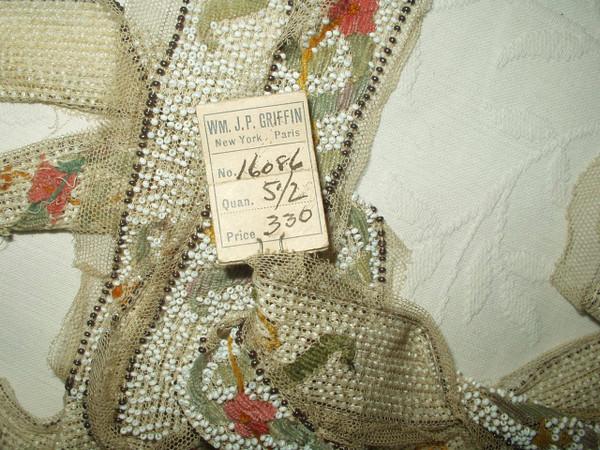 Antique Vintage 1920s Flapper Beadwork Beading Embroidery Tulle Trim Yardage