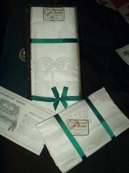 Vintage 1920 Shamrock Celtic Pattern Irish  Double Damask Linen Tablecloth 8 Napkins Unused In Box