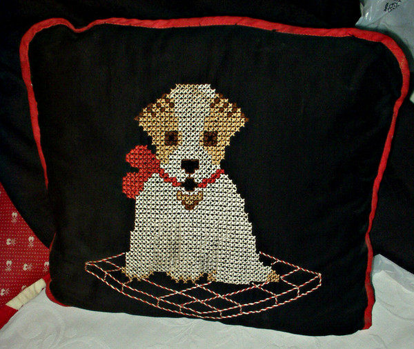 Vintage 1920 Embroidery Cross Stitch Puppy Dog on Cushion Pillow Cover