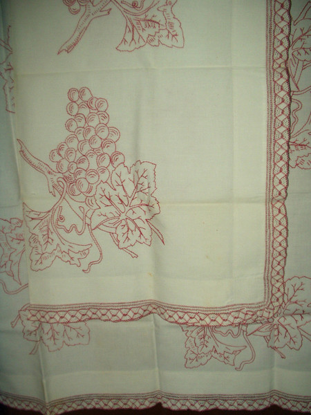 Antique Victorian Turkey Redwork Embroidery Sham Pillow Topper Grape Motif