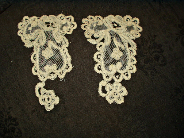 2 Victorian Tape Lace Tulle Dress Applique Embellishments Trim Pieces