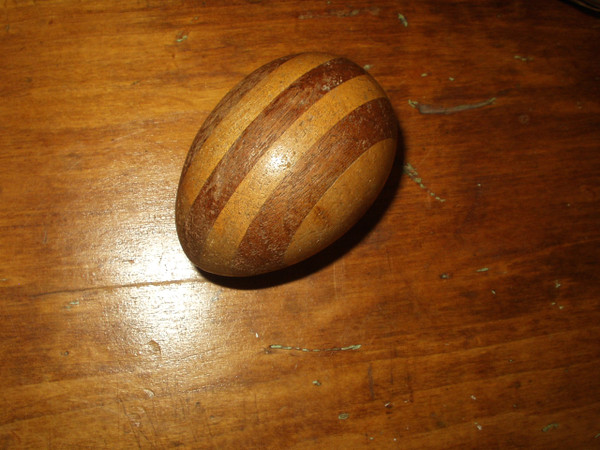 Vintage Inlay Wooden Egg Sock Darner Sewing Tool Dark and Lighter Color Wood