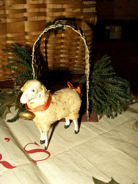 Vintage Wooden Stick Leg Putz Sheep Wooly Coat Ribbon Neck Bell
