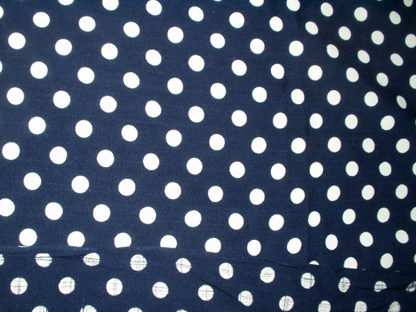 1950 Vintage Polka Dot Fabric Cotton Navy Dress Yardage