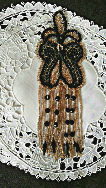 Victorian Edwardian Beaded Tassel Beadwork Gold Black Beads Embellishment