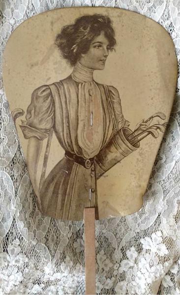 Cardboard Hand Fan Advertising 1900s Women Golf Sport