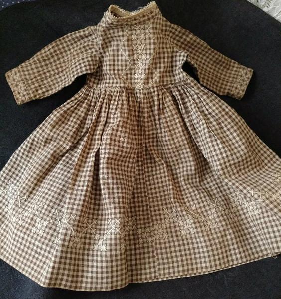 Brown Homespun Doll Dress Handstitched Chicken Scratch Embroidery 1890s