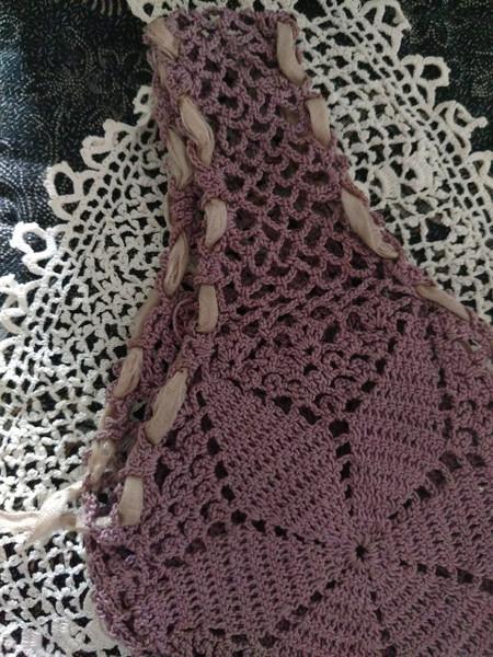 Old Needlework Crochet Bag Vintage Handle Purse 1920 1940