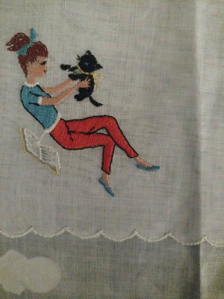 1950s Desco Hankie Handkerchief Ponytail Girl Cat Embroidery Unused