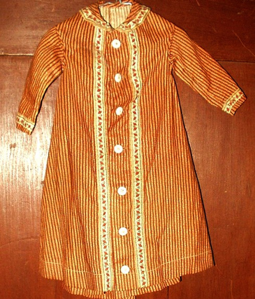 Antique Civil War Brown Calico Doll  Dress China Buttons Border Print Fabric