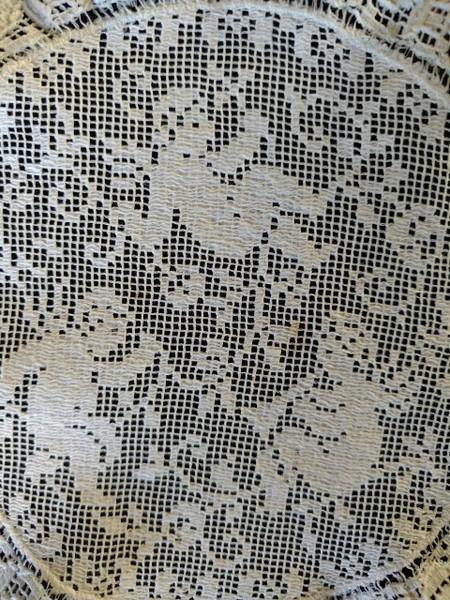 Vintage Darn Net Lace Doily Cherub Angel Round Figural Mat Lot 6
