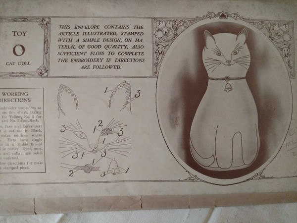 Victorian 1900s Cut Out Cloth Cat Doll Toy Embroidery Pattern  Original Envelope