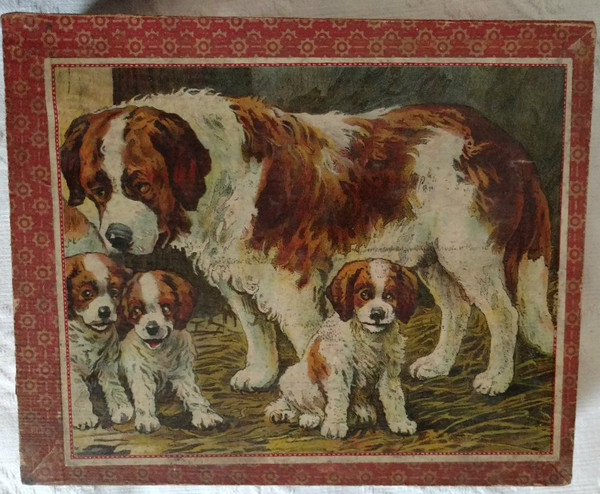Antique Victorian Child Puzzle Blocks Wood Box Dog Cat Farm Animals Germany