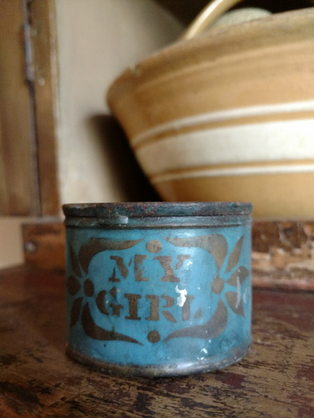 Stencil My Girl Blue Tin Cup Primitive 19th Century  Americana Toleware