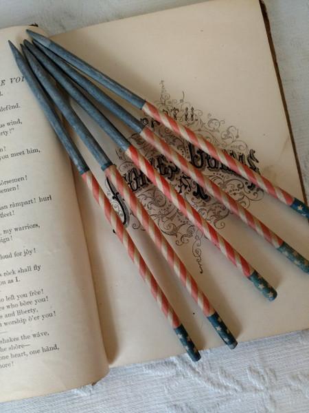 1900s School Slate Pencil  Red White Blue Flag Star Patriotic Americana