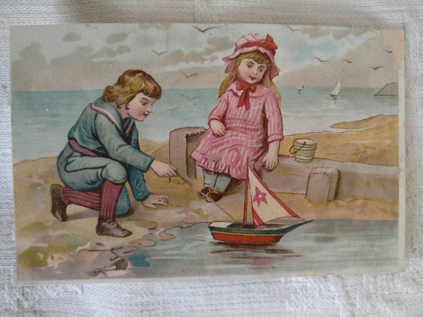 Victorian Trade Card From Scrapbook Boy Girl Toy Sailboat