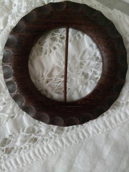 Vintage Wood Buckle 1930s Dress Slide Natural Finish Thumbprint Edge
