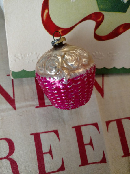 1920s Glass Feather Tree Ornament  Flower Basket Christmas Decoration