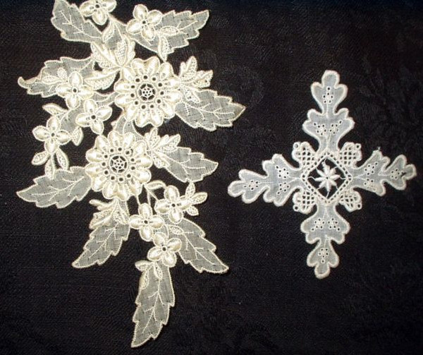 Vintage Early 1900s Embroidery White Work Dress Applique Trim