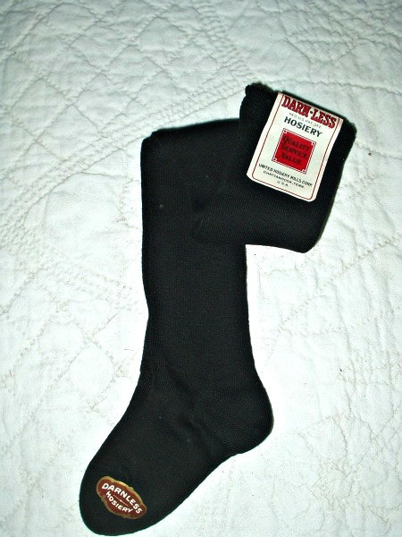 Old Store Stock 1920 Vintage Long Black Children Stockings Hosiery With Tags