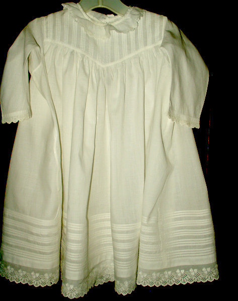 Antique Victorian Child Baby Doll Cotton Dress Tucks Eyelet Trim