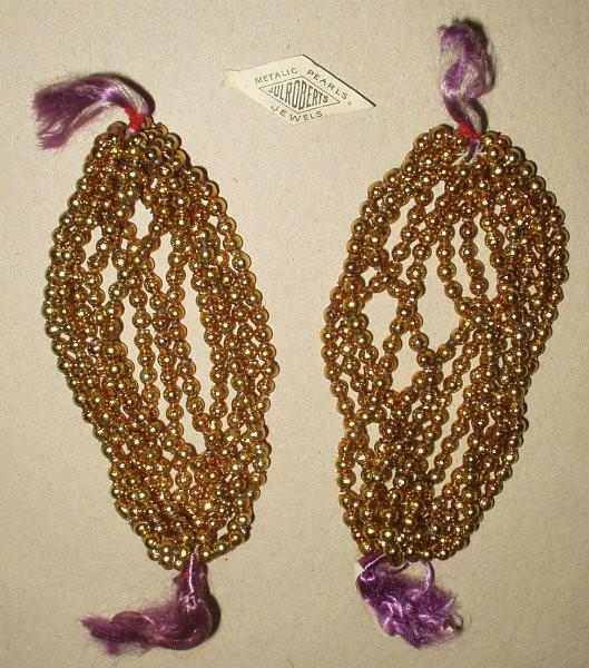 Vintage 1920 Czech Gold Metal Beads Beadwork Unused Strands Hank