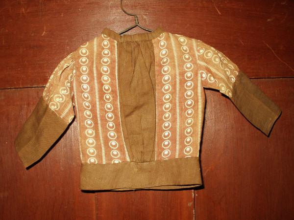 Victorian 1890's Primitive Brown Calico Fabric Doll Bodice Blouse
