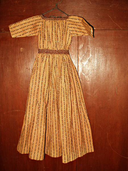 Antique Mid 19th Century Civil War Primitive Brown Calico Doll Dress