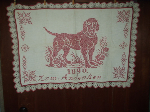 Victorian Turkey Redwork Embroidery Cross Stitch Dog Crochet Edge