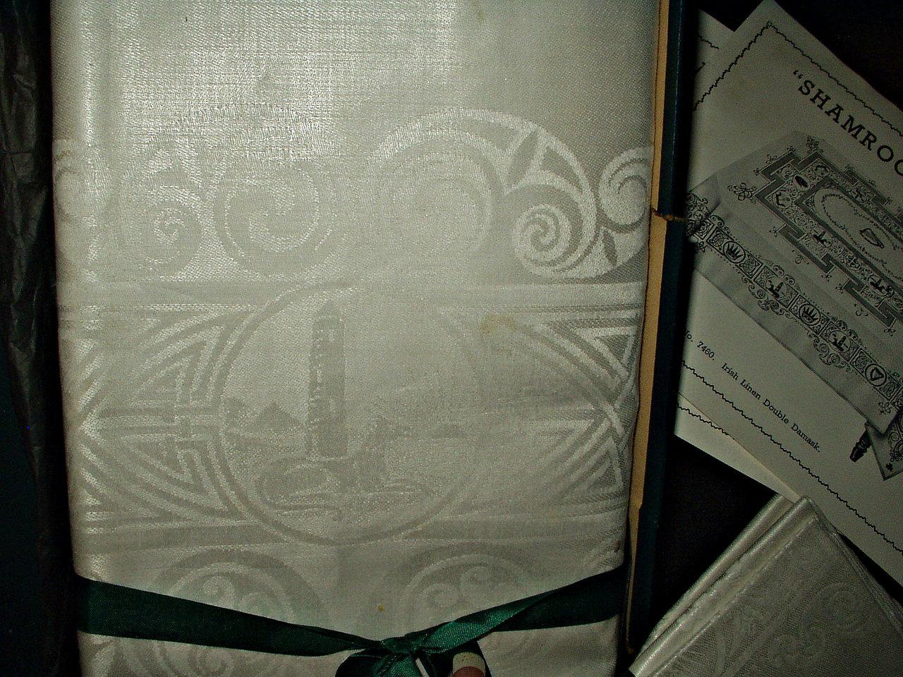 Vintage 1920 Shamrock Celtic Pattern Irish Double Damask