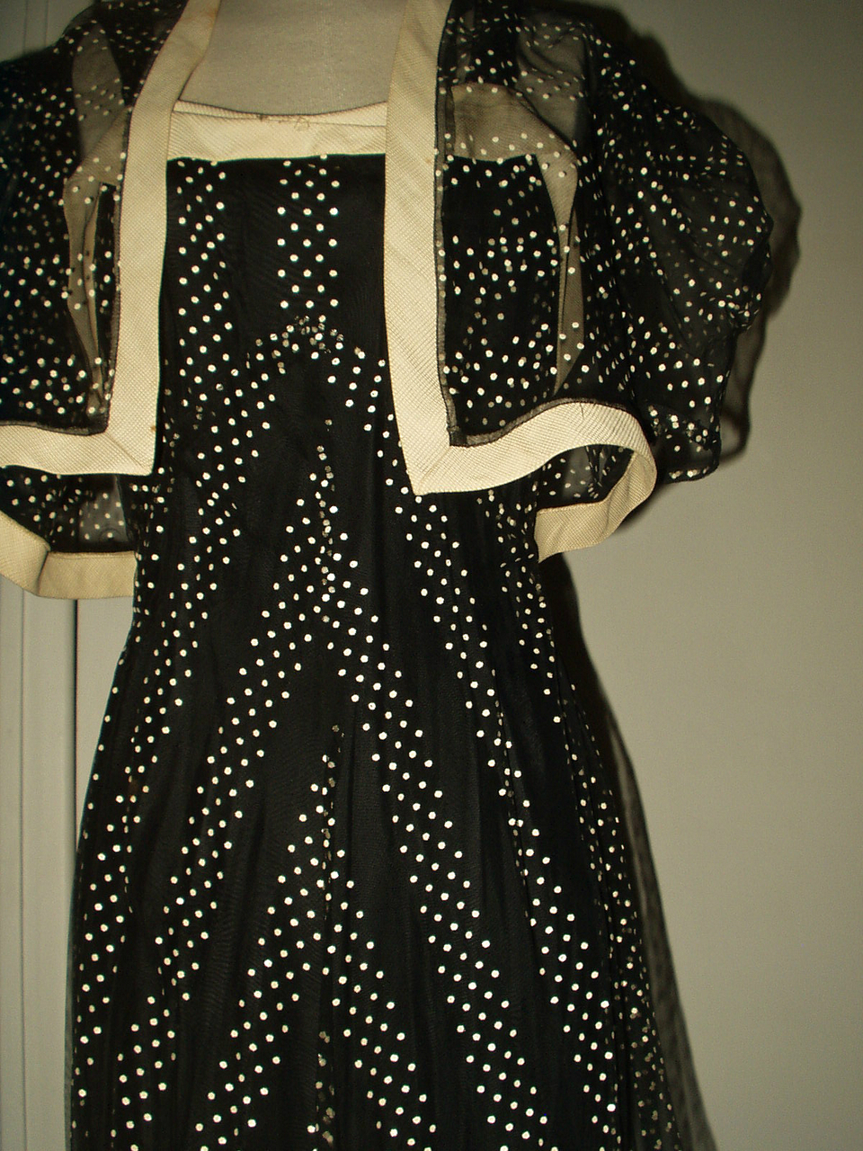 Vintage 1930 Evening Gown Party Formal Dress Sheer Black Dotted ...