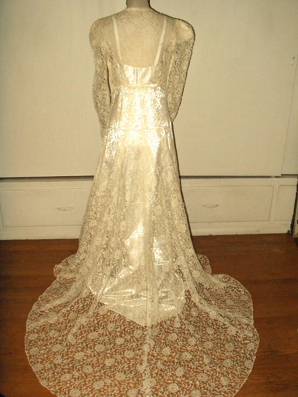 1940 Vintage Alencon Lace Wedding Dress Bridal Gown Satin Slip ...