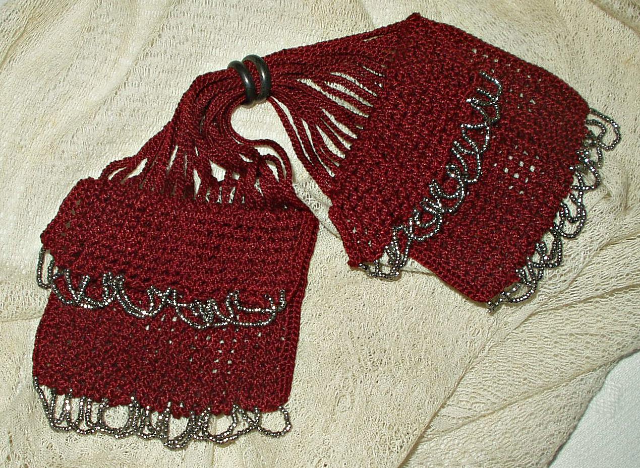 Antique Knitted Silk Miser Bag Coin Purse Silver Bead -5384