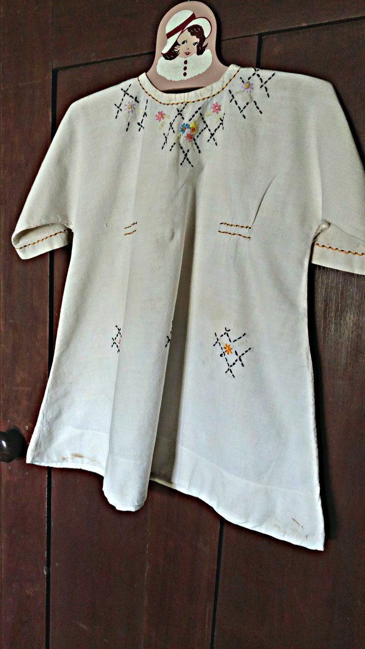 Vintage Child Embroidered Muslin Dress Home Sewn 1920 1930 The Gatherings Antique Vintage
