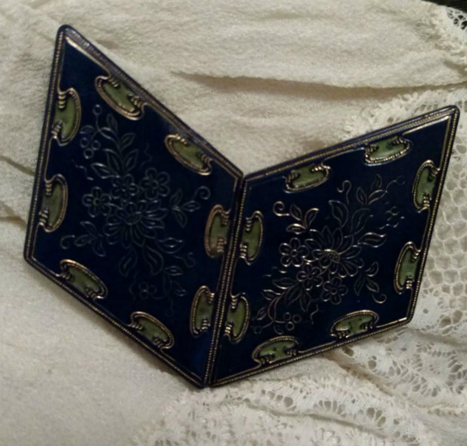 vintage 1930 art deco belt buckle blue cloisonne brass flower design the gatherings antique. Black Bedroom Furniture Sets. Home Design Ideas