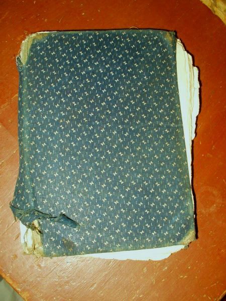 Blue Covered Book : Blue calico cloth covered school book dated country