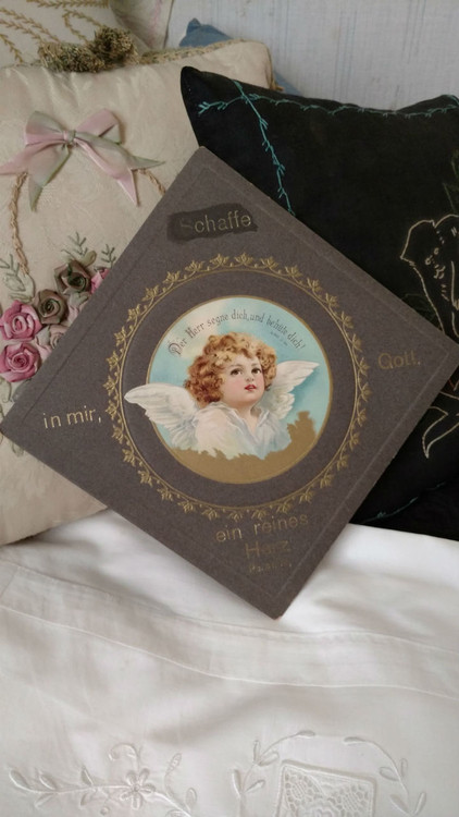 German Victorian Lithograph Angel Cardboard Religious