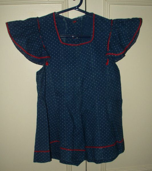 Vintage 1940 children 39 s summer dress in a blue dot fabric for Childrens dress fabric