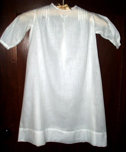 Vintage 1920 Long Christening Baby Day Dress Tucks