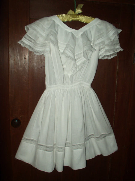 Victorian 1900 Batiste Children Dress Ruffle Collar Lace Inset The Gatherings Antique Vintage