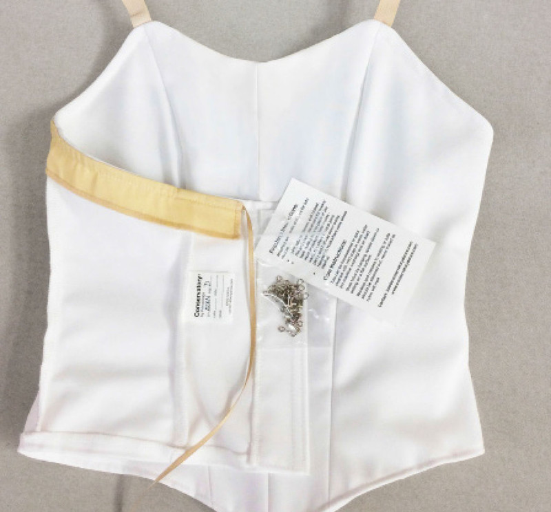 Conservatory C504 bodice back view with hooks and eyes