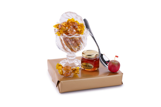 Crystal Footed Honey Dish With Honey And Candy
