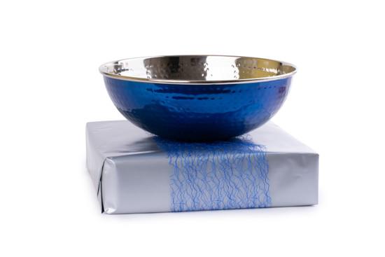 Blue Hammered Metal Salad Bowl