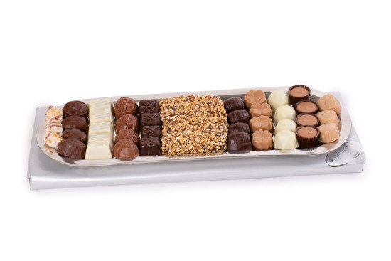 Elegant Truffles On Stainless Long Tray