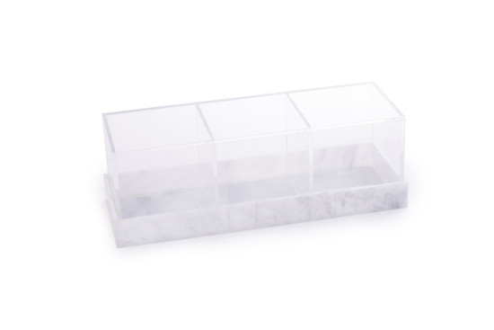 Acrylic 3 Section Server With Grey Marbleized Base