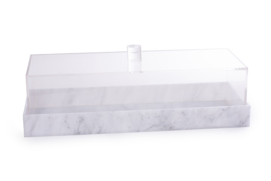 Acrylic Loaf Tray With Grey Marbleised Lid