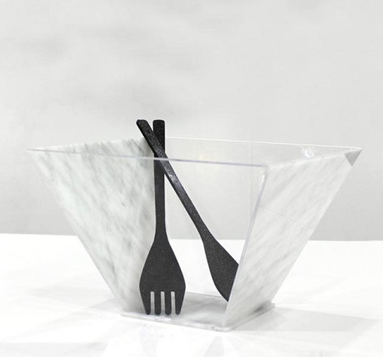 Acrylic Trapezoid Salad Bowl With Spoons
