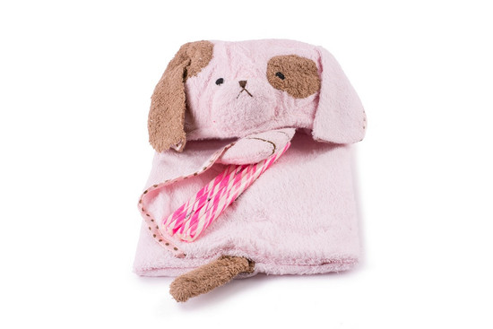 Pink Hooded Towel With Candy Sticks