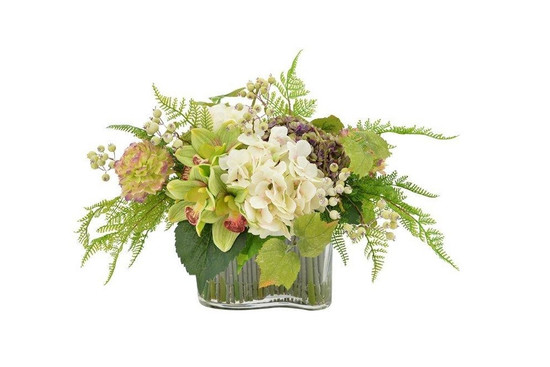 Floral Centerpiece With  Curved Glass Vase